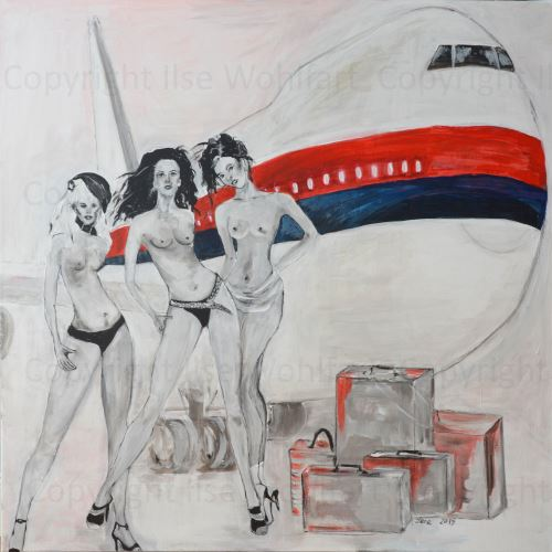 Jetset - Acryl auf Leinwand - 1x1m